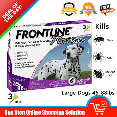Frontline Plus for Dogs Flea&Tick Treatment Control For Dogs (45-88lbs) 3 Doses