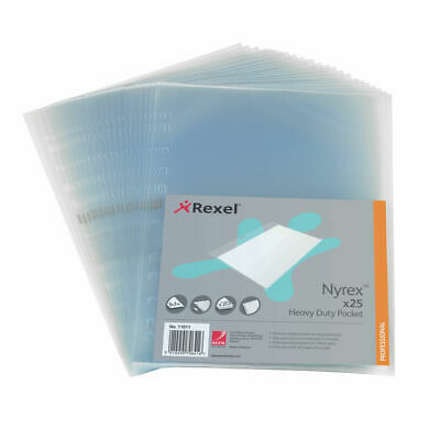 NEW! Rexel Nyrex Heavy Duty Side Opening Pocket A4Pack of 25 NRBA41 11011