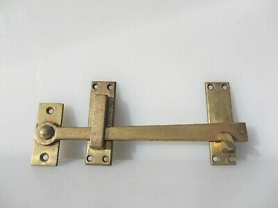 Large Vintage Brass Door Latch Lock Antique Hook Old Barn Gate Bolt Keep 11""
