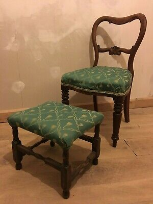 Victorian Mahogany Carved Balloon Back Green Gold Upholstered Chair and Stool