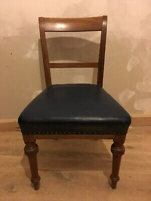 Victorian Walnut Bar Back Blue Leather Upholstered Single Hall Dining Chair