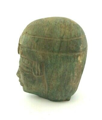 Egyptian Antique Bust Stunning Statuette Rare Ancient Carved Stone Sculpture
