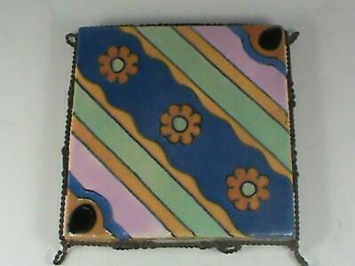 Antique Arts & Crafts Tile by Flint Faience Tile Co Twisted Wire Frame RARE