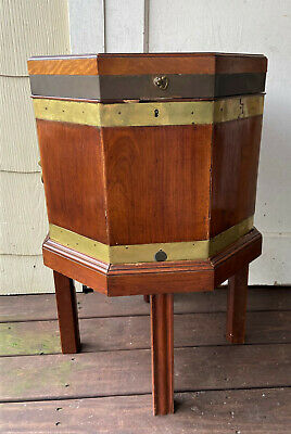 Antique English Mahogany & Brass Octagonal Cellarette Wine Cooler Box & Stand