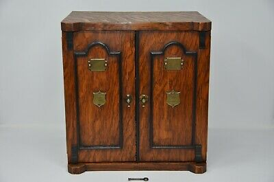 Antique Victorian Smokers Cabinet /Safe With Key in Tiger oak wood