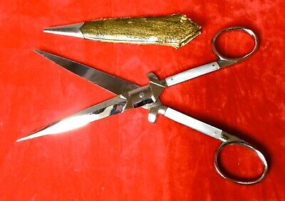 Superb Antique Sewing Scissors Mother Of Pearl in Leather Sheath 6.1/2 Inches