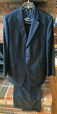 Michael Kors 46L Formal Suit Jacket Slacks Blue Pinstripe Wool Sport Coat Pants