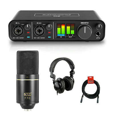Motu M2 2x2 USB Audio Interface w/ MXL 770 Cardioid Mic, Headphone & Cable