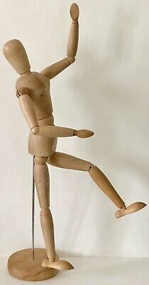 "Richeson ARTICULATED WOODEN FEMALE 16.5"" Carved Jointed Bendable Man Wood Figure"