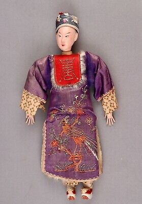 "Exquisite Chinese Male Opera Doll, 10"", in Purple & Red, ca. Late 1800s-1920s"