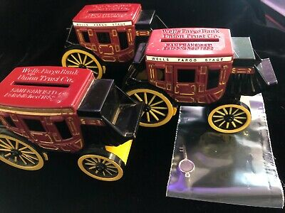 3 2011 Wells Fargo Metal Diecast Stagecoach Banks 1 Key