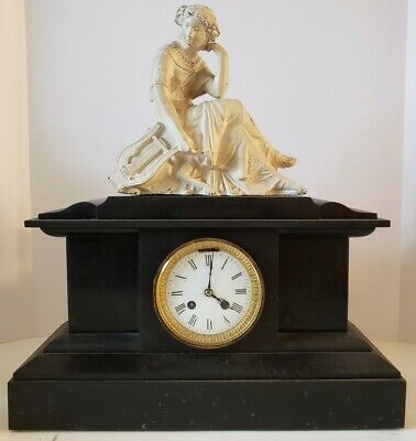 Antique French Victorian Black Marble Slate Mantel Clock with Statue Topper