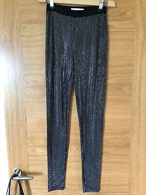 Pierre Balmain Metal Effect Black Leggings Size  New £1000