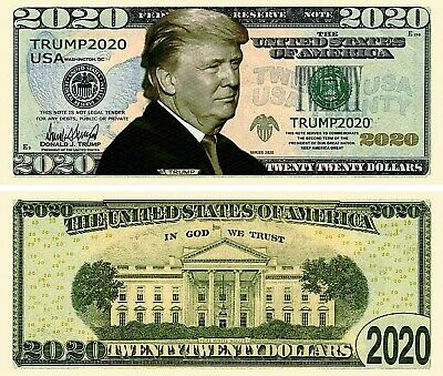 lot of 6 bills - Donald Trump 2020 Re-Election Presidential Novelty Dollar Bills