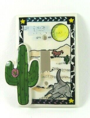 Vintage Hand Painted 3D Southwest Cactus Porcelain Light Switch Plate Cover
