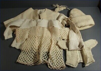 Vintage Lot Of 6 Hand Crochet Knit Baby Doll White Sweaters & Hats