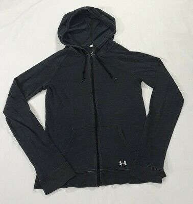 Under Armour UA Semi Fitted SM/P Girls Zip Hoodie Jacket Blue Pockets