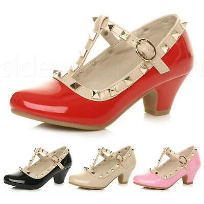 Girls Kids Childrens Heeled Punk Rock Studded T-Bar Mary Jane Party Shoes