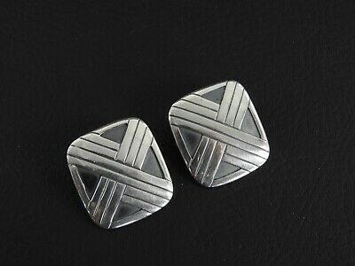 James Avery Rare Clip Earrings Art Deco Style Solid 925 Sterling Silver Jewelry