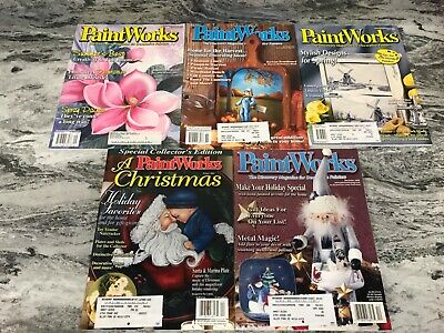 Lot of 5 PAINTWORKS Decorative Tole Painting Magazines Winter 02-Sep 04 Lot n