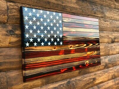 Large Rustic American Wooden Flag USA Handmade 37 x 19.5 Hand carved stars.