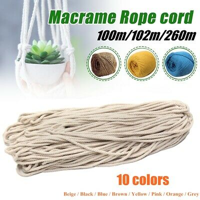 3/5mm 100M/102M/260M Macrame Rope Cotton String Twisted Cord Artisans Hand Craft