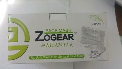 Zogear Face Mask Surgical Disposable With High Filtration Capacity 50Pcs FDA CE