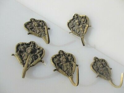 Late Vintage Brass Coat Hooks Hat Double Hangers Old Hook Hanger Face Cherub  x5