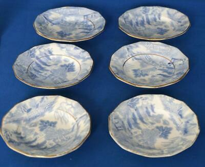 Antique Willow Pattern  Blue and White Miniature Pottery Doll's Childrens Plates