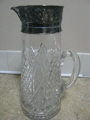 Vintage Pressed Glass Carafe/Pitcher Decanter with Silverplate Top