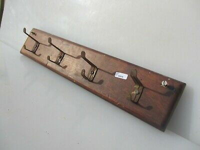 "Vintage Wooden Coat Rack Hat Iron Hangers Hooks Reclaim Old Retro 17.5""W"