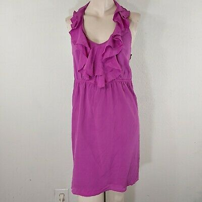 mm couture silk dress small orchid ruffle halter top sexy romantic date night