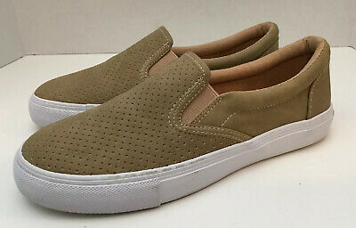 NEW Soda 7 Women's Perforated Slip On Flat  Round Toe Sneaker Shoes Tan Neutral