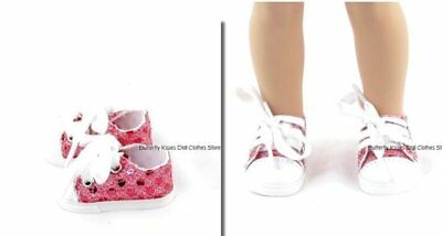 Pink Sequin Sneakers 14.5 in Doll Clothes Fits American Girl Wellie Wishers