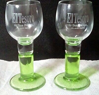 "Set of 2 El Tesoro de Don Felipe 100% gave Tequila Shot Glasses, 4¼"" tall"