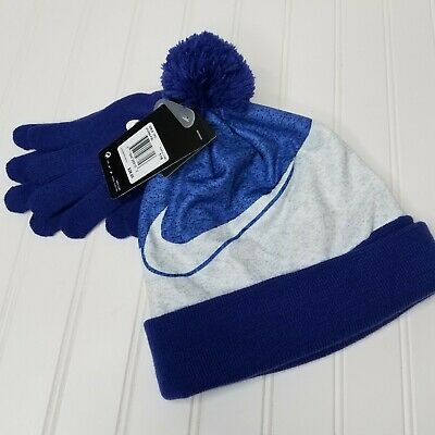 Nike Pom Pom Hat Glove Set Girls Size 7-16 Purple Comet