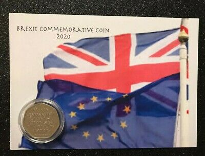 NOW IN STOCK  2020 Brexit Commemorative 50P COIN on special Brexit background
