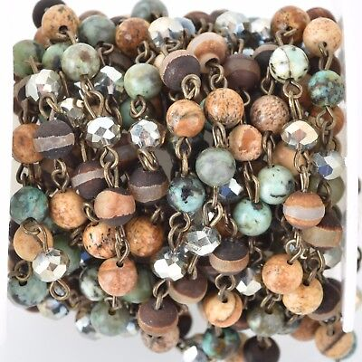 3ft GEMSTONE CRYSTAL Rosary Chain, bronze, Turquoise, Jasper, Agate 6mm fch0687a