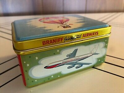 Braniff Airlines Airways Tin Vintage New Old Stock First Class Chocolates NOS
