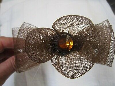 Fascinator Headband Brown Bridal Prom Party Wedding mesh ribbon Crystal Bead