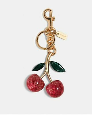 New COACH Signature Cherry Bag Charm Pink Multicolor 88547