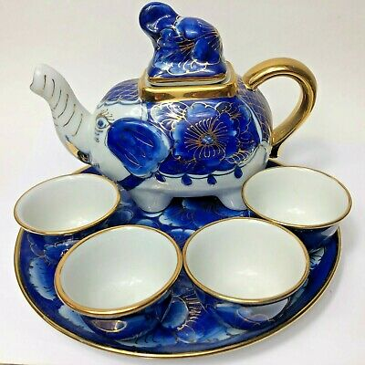 Hand Painted Blue & Gold Elephant Tea Set Teapot, 4 Cups, and Tray