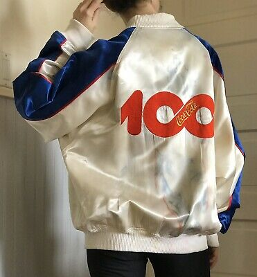 Coca Cola 100th Anniversary Satin Jacket Vintage 1986 Size Large Collectible