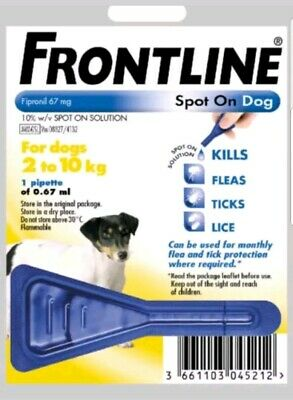 Frontline Spot On Flea For Small Dogs  2-10kg 1 Pipette AVM-GSL (EXP:10/2021)