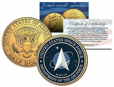 United States Space Force USSF 6th AF Branch 24K Gold Clad JFK Half Dollar Coin