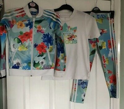 Girls Adidas Age 7 8 Full Tracksuit Summer Floral Print 99p