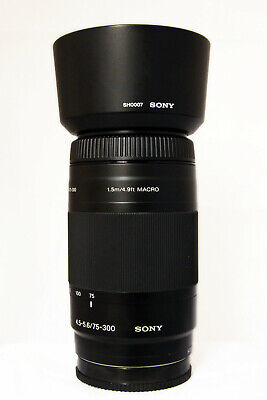Sony 75-300mm F4.5/5.6 Sony/Minolta AF Fit Macro Lens with Hood