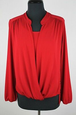 Roz & Ali Womens Med Long Sleeve Red Shirt NWT 2-n-1 Dress Barn Career Top New