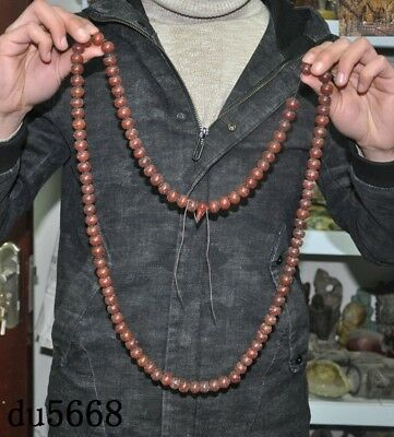 """25""""China natural agate carved Prayer beads Fozhu Amulet periapt necklace statue"""
