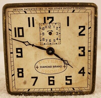 Antique 1925 NEW HAVEN 'Peters Diamond Brand Shoes' Advertising Dial Alarm Clock